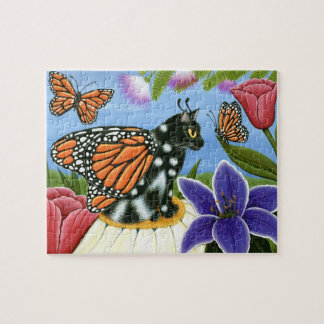 Monarch Butterfly Fairy Cat Fantasy Art Puzzle