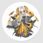 Monarch Butterfly Fairy Classic Round Sticker