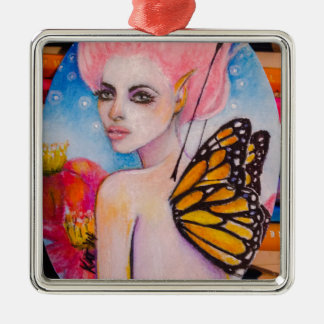 Monarch Butterfly Fairy with Pink Haiir Metal Ornament