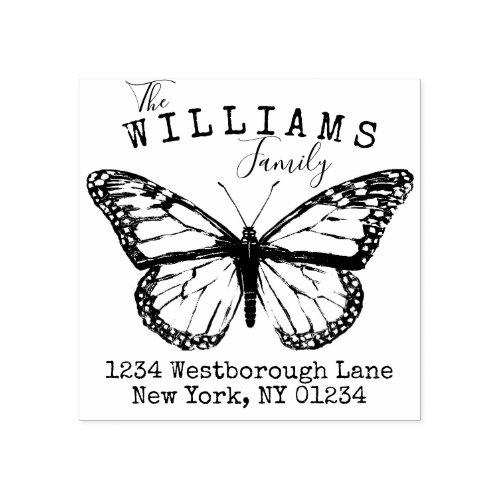 Monarch Butterfly Family Custom Return Address Rubber Stamp