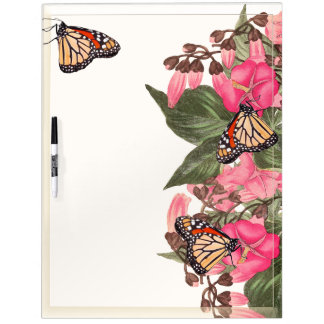 Monarch Butterfly Floral Dry Erase Board