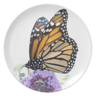 Monarch Butterfly Flower Floral Wildlife Animal Dinner Plate