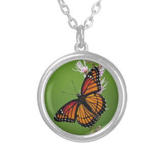 Monarch Butterfly Gradient Silver Plated Necklace
