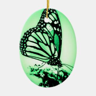 Monarch Butterfly, Green Ceramic Ornament
