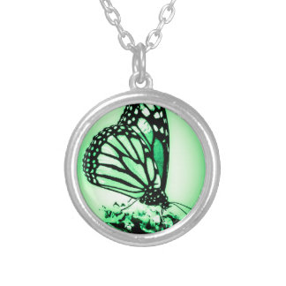 Monarch Butterfly, Green Silver Plated Necklace