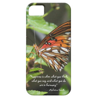 Monarch Butterfly, Happiness Quote, Mahatma Gandhi iPhone 5 Cases