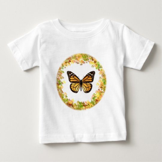 Monarch butterfly in frame of leaves baby T-Shirt