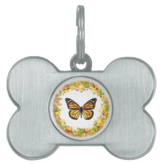 Monarch butterfly in frame of leaves pet ID tags