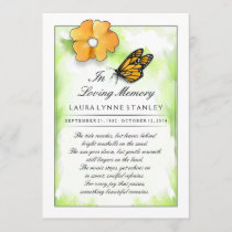 Monarch Butterfly In Memory of Thank You Card