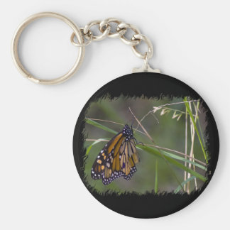 Monarch Butterfly in the Grass Basic Round Button Keychain