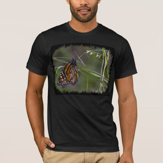 Monarch Butterfly in the Grass Black Edge T-Shirt