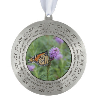 Monarch Butterfly Round Pewter Ornament