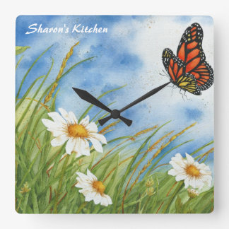 Monarch Butterfly Kitchen Clock Square Wallclock