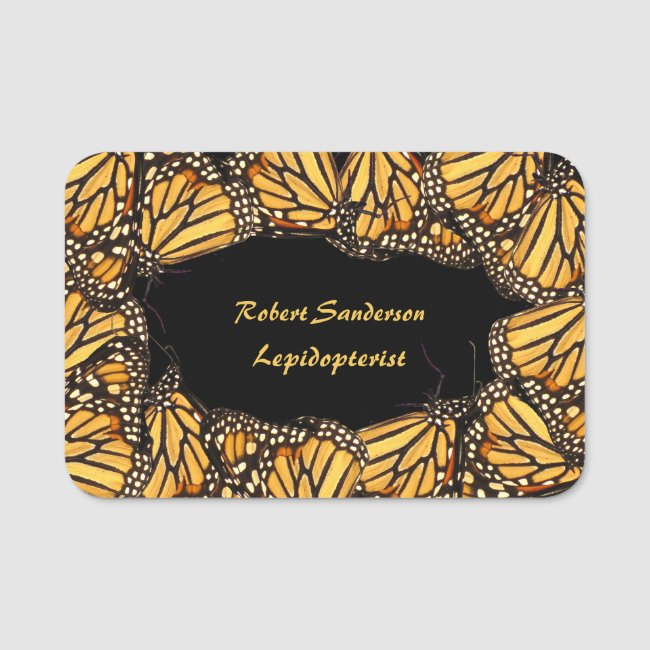 Monarch Butterfly Lepidopterists Name Tag