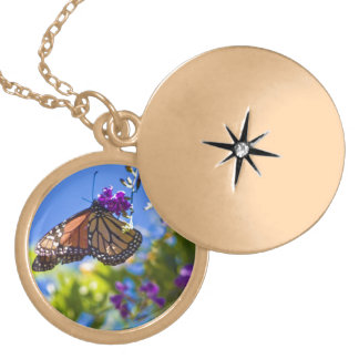 Monarch Butterfly Locket Necklace