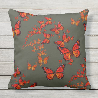 Monarch Butterfly Migration Charcoal Grey Pattern Throw Pillow