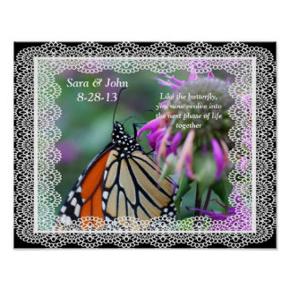 Monarch Butterfly Nature Wedding Poster