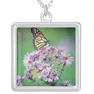Monarch Butterfly Square Pendant Necklace