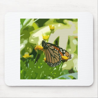 Monarch butterfly on a green and yellow plant mouse pad