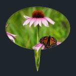 """Monarch butterfly on a purple coneflower cake topper<br><div class=""""desc"""">Monarch butterfly on a purple coneflower.</div>"""