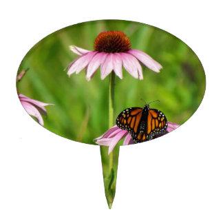 Monarch butterfly on a purple coneflower cake topper