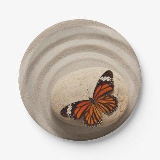 Monarch Butterfly on a Stone in a Zen Garden Paper Plate