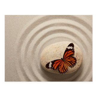 Monarch Butterfly on a Stone in a Zen Garden Postcard
