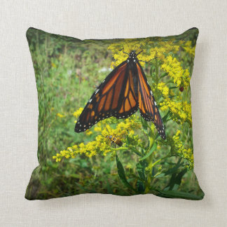 Monarch Butterfly on a Yellow Flower Throw Pillows