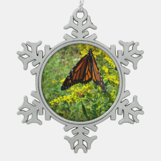 Monarch Butterfly on a Yellow Flower Snowflake Pewter Christmas Ornament
