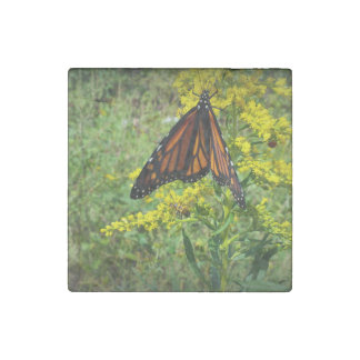 Monarch Butterfly on a Yellow Flower Stone Magnet