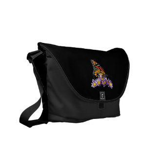 Monarch Butterfly on Asters Messenger Bag