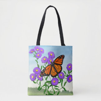 Monarch Butterfly on Asters Tote Bag