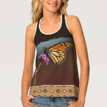 Monarch Butterfly on Flower and Mosaic Tile Tank Top