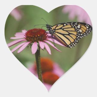 Monarch Butterfly on Flower Heart Sticker