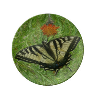 Monarch Butterfly on flower life painting style Dinner Plate