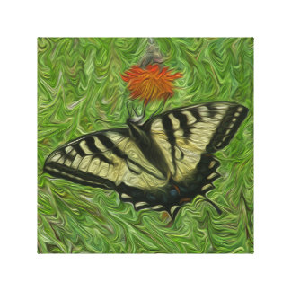 Monarch Butterfly on flower painting style Canvas Print