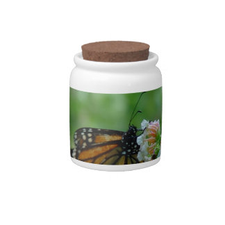 Monarch Butterfly on Flower Porcelain Candy Jar Candy Dish