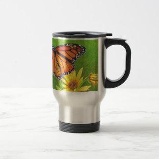 monarch butterfly on flowers travel mug