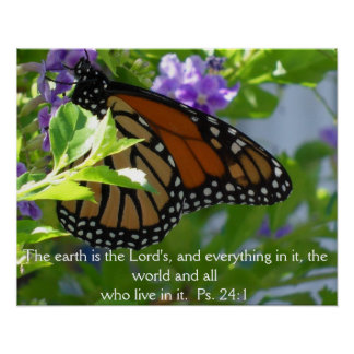 Monarch Butterfly on Flowers w/ Bible Verse Poster