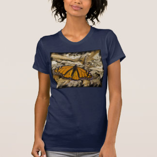 Monarch Butterfly on Ground Black Edge T-Shirt