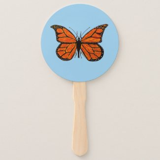 Monarch Butterfly on Hand Fan