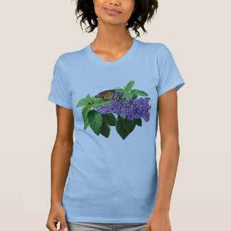 Monarch Butterfly on Heliotrope Ladies Tee Shirts