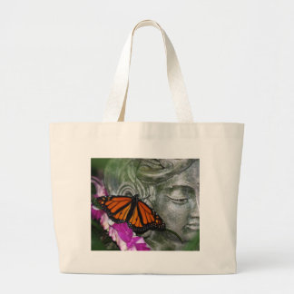 Monarch Butterfly on Kwan Yin Large Tote Bag