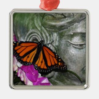 Monarch Butterfly on Kwan Yin Metal Ornament