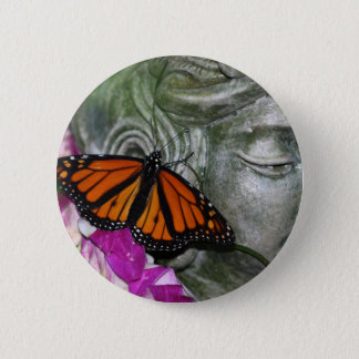Monarch Butterfly on Kwan Yin Pinback Button