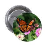 Monarch Butterfly on Lantana Flower 2 Inch Round Button