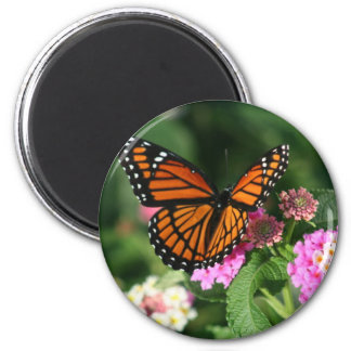 Monarch Butterfly on Lantana Flower 2 Inch Round Magnet