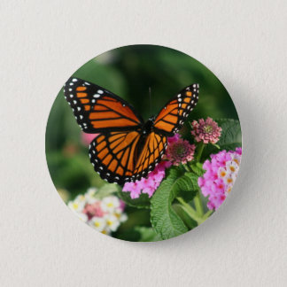 Monarch Butterfly on Lantana Flower Button