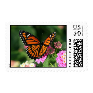 Monarch Butterfly on Lantana Flower Postage Stamp
