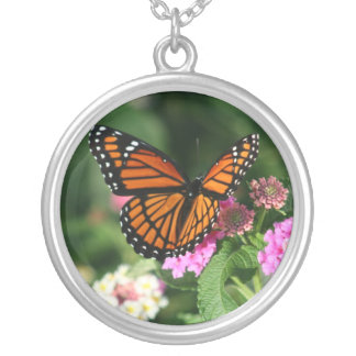 Monarch Butterfly on Lantana Flowers.Necklace Round Pendant Necklace